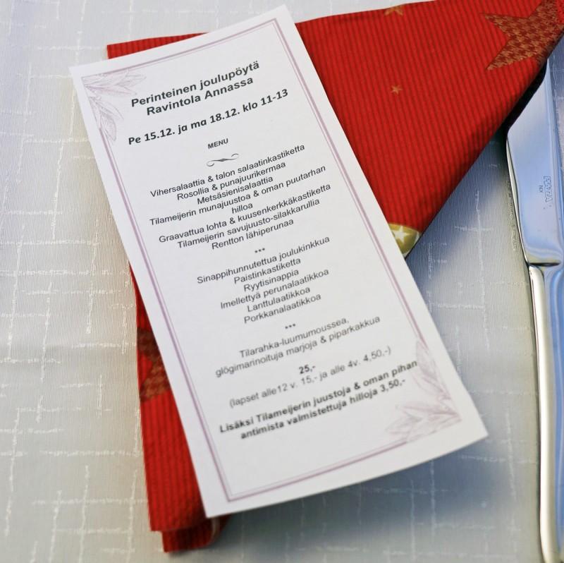joulupöytä+ravintolaanna